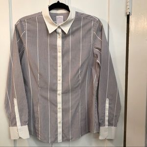Brooks Brothers 346 blue striped button down shirt